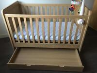 Mamas and papas Rialto cot bed , mattress and under bed storage