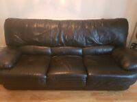 Black Leather Sofa - 3 + 1 Seater