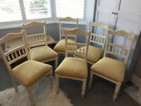 6 shabby chic Edwardian painted and upholstered dining chairs in yellow fabric