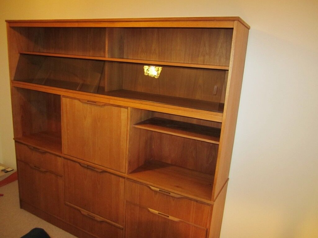 Vintage Solid Teak Bookcase Display Cabinet With Two Sliding Glass