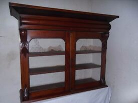 Antique victorian glass fronted wall cupboard,shelves,dresser top