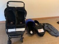 Double Mountain Buggy Duet travel system and carrycot plus