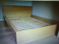Double wood bed frame