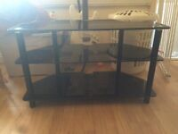 Black 3tier glass tv stand