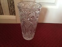 Heavy Embossed Large Glass Vase