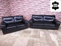 QUALITY EX DISPLAY 'DAYSON' 3 & 2 SEATER LEATHER SOFAS IN CLASSIC BLACK SETTEES/SUITE