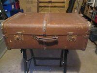 Vintage wood banded trunk/case.