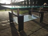 Clear glass & black modern rectangle coffee table