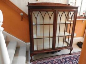 Antique Carved Solid Wood Bookcase Display Cabinet
