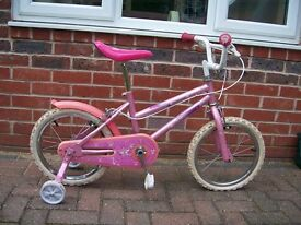 "Girls bike with 14"" wheels and stabilisers"