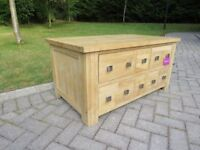 Solid Oak Coffee Table With Drawers