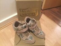 ASH Bisous roccia and snakeprint Suede wedge trainers Size 4