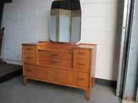 VINTAGE LEBUS LINKS OAK SEVEN DRAWER DRESSING TABLE WITH MIRROR FREE DELIVERY