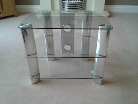 John Lewis TV Corner Stand in Clear Glass
