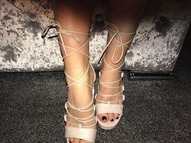 Light pink lace up heel, size EU 39