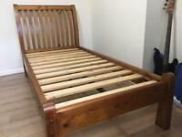 Top quality large single bed solid antique pine.