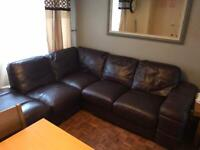DFS Leather Corner sofa, swivel chair and large foot stall