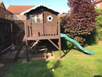 Childrens Wooden Playhouse (on stilts) with slide