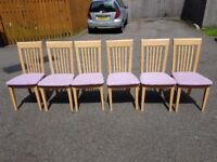 6 Solid Wood & Fabric Seats FREE DELIVERY 043