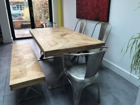 DINING SET; TABLE, CHAIRS, & BENCH