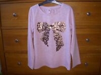 NEXT girls long sleeve top with sequin design Age7 y rs 122cm