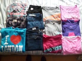 Girls Clothes Bundle (12 items) - T-shirts, Shirts, Jeans and a Hoodie