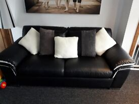 black white leather sofa