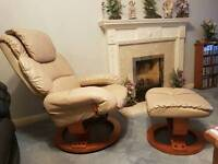 Leather Cream Recliner Chair & Foot Stool