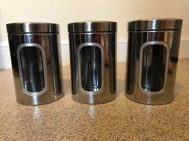 3 Stainless Steel Kitchen Caddies with Window