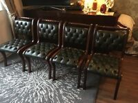 RARE Set of 4 Green Chesterfield Dining Chairs(Mahogany)