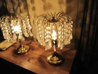 matching pair of brass effect table lamps with crytsal style drops