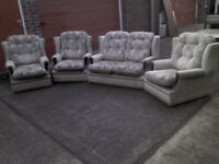 4 PIECE SUITE DOUBLE SOFA AND ARM CHAIRS - ALL ON WHEELS! GREAT CONDITION