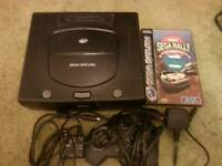 Sega Saturn with sega rally and all leads