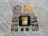 2DS, pokemon sun & moon + 18 games