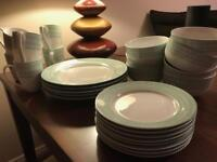 Asda Mint Green and White Dinner Set - Mugs / Plates / Bowls