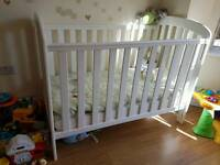 Mothercare white cot bed with mattress