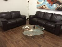 SOFAS**DARK CHESTNUT BROWN LEATHER SUITE**DELIVERY AVAILABLE**