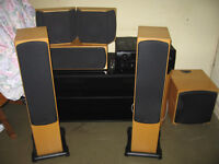 Home cinema 5.1 system, monitor audio RX6 silver 5.1 speaker package / Denon av amp