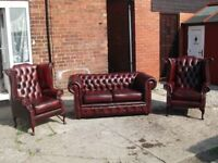 OXBLOOD RED LEATHER CHESTERFIELD SUITE 3 PIECE TIMELESS FURNITURE MADE TO LAST YEARS CAN DELIVER