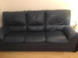 2 & 3 seater navy blue leather suite