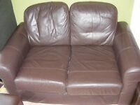 FREE 2 SEATER BROWN LEATHER STYLE SOFA.