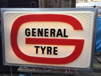 MUST SELL DELIVER2U COOL RETRO ILLUMINATED 3 FEET LONG AMERICAN GENERAL TYRE DOUBLE SIGN NEW LIGHTS