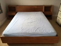 Queen bed with bedside tables and storage - solid wood - excellent condition