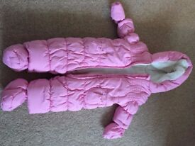 Baby girls pink fleece snow suit / pram suit 0-3 months