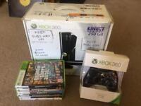 Xbox 360 Slim 500GB HD in Black with 8 games
