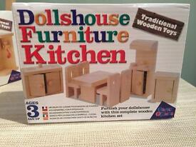Brand new wooden dolls house furniture