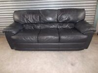 Black Full Leather 3+2-seater Suite (Sofa)