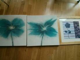 Canvases and photo frame