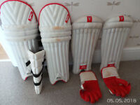Slazenger batting/wicket pads, wicket gloves, thigh pad, cricket shirt & trousers - boys