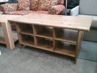 Pine coffee table with shelving